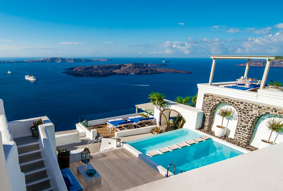 Pool views at Iconic Santorini, Greece