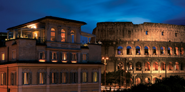 Palazzo Manfredi, a 16-room boutique hotel in the center of Rome, is located directly opposite the Coliseum